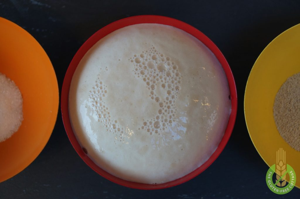 Yeast with small bubbles (gluten-free brown bread).