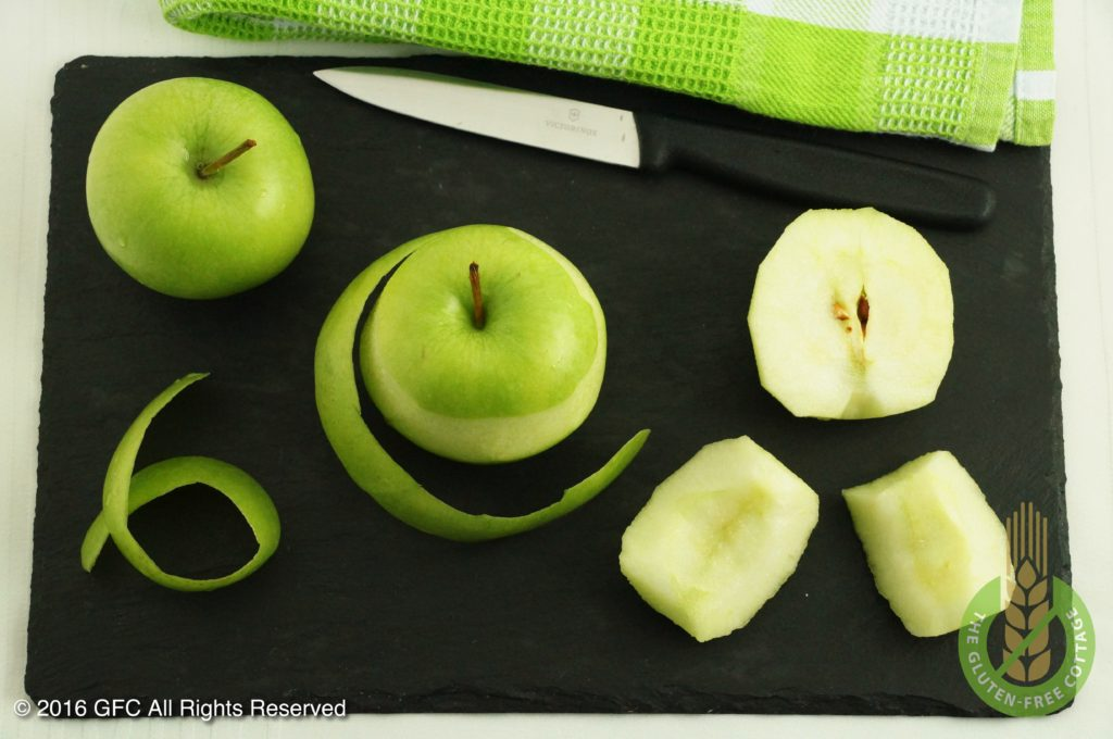 Peel and quarter apples and remove the core (gluten-free upside down apple pie/ tarte tatin).