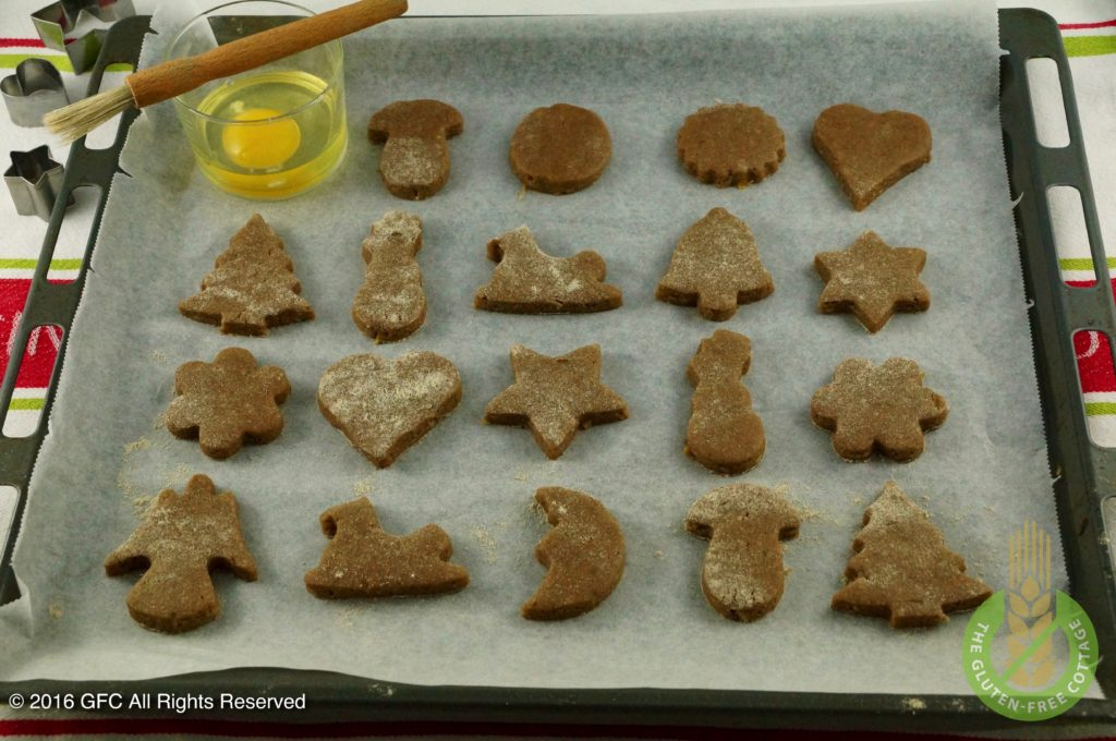 After the cookies are cut out (gluten-free gingerbread cookies).