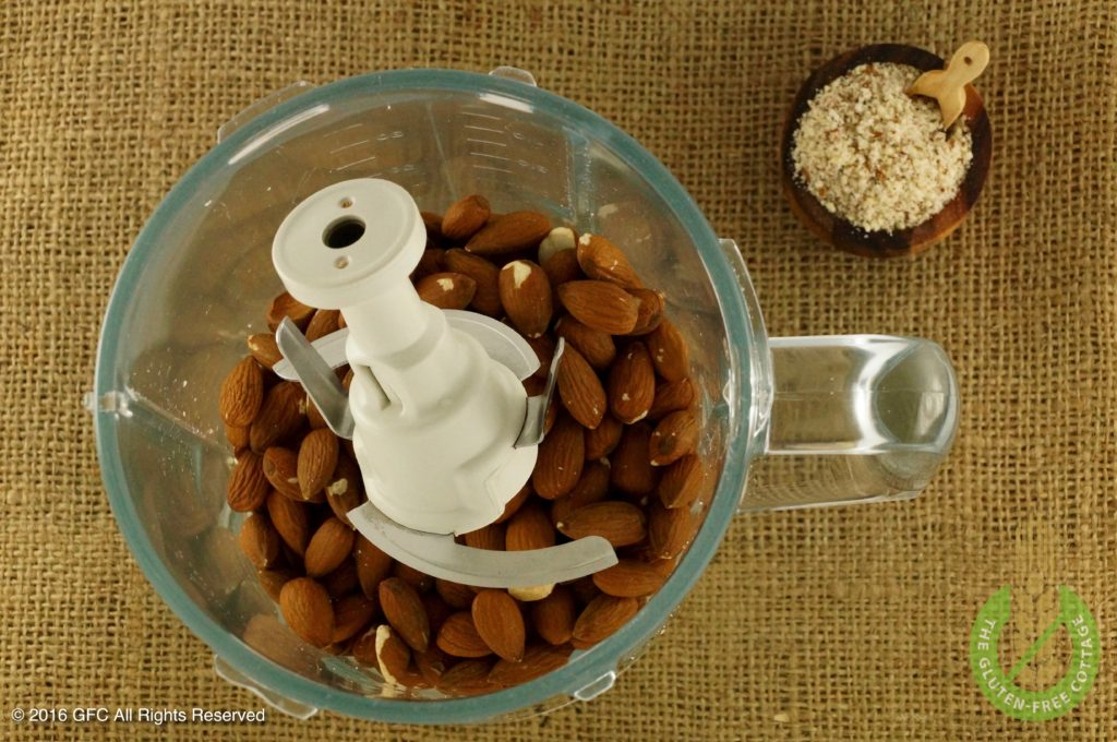 Grind whole almonds (gluten-free cinnamon cookies).
