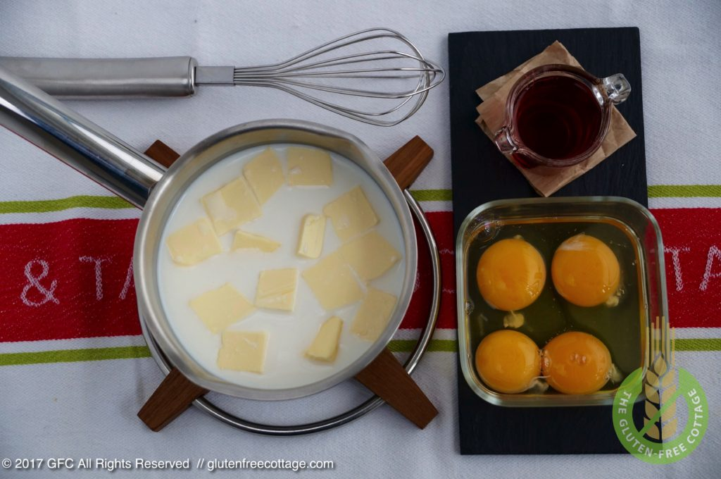 Wet ingredients: milk, butter, whole eggs, yolks and rum (gluten-free jelly doughnuts/ Krapfen).