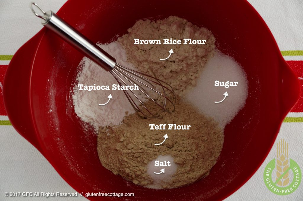 Dry Ingredients: Teff Flour, Brown Rice Flour, Tapioca Starch, Salt and Sugar (Gluten-Free Sweet and Savory Crepes).