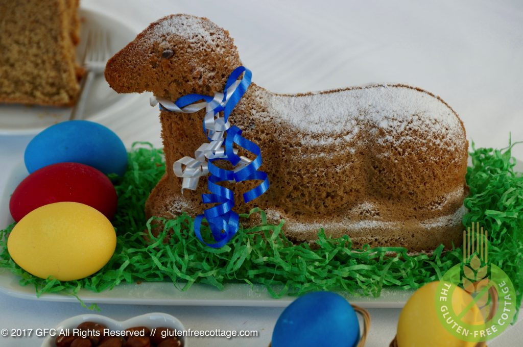 Gluten-free Easter lamb cake with teff flour.