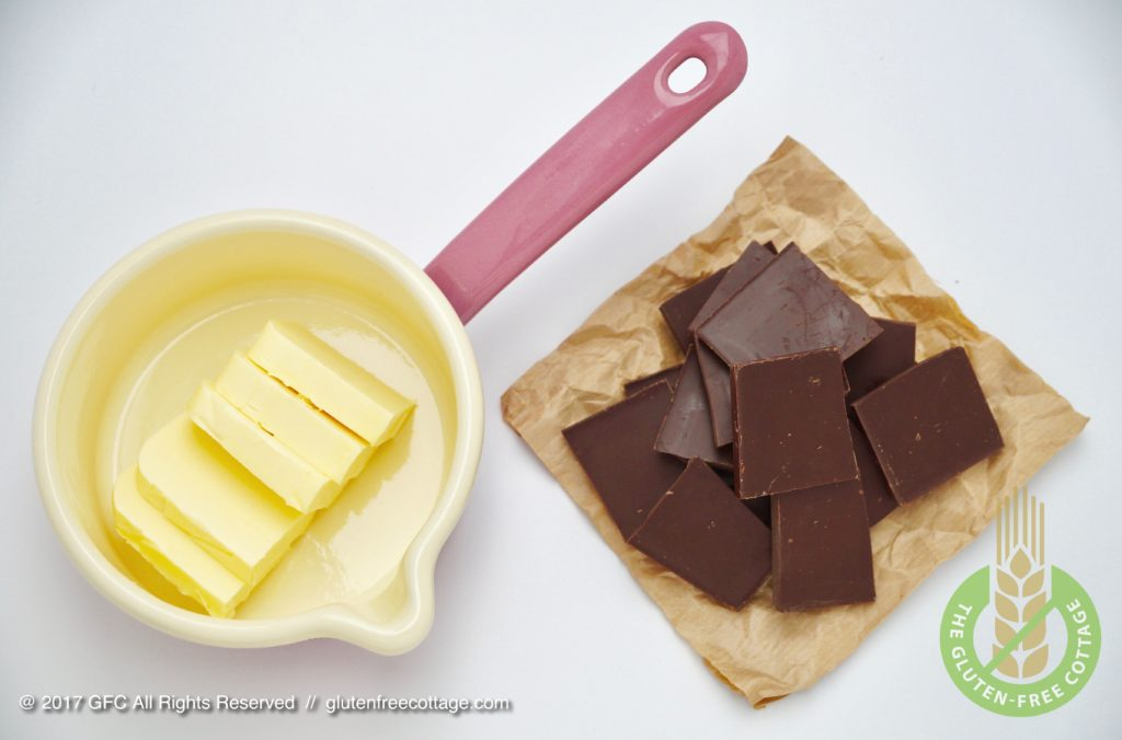 Ingredients for chocolate glaze (gluten-free banana cake with chocolate glaze).